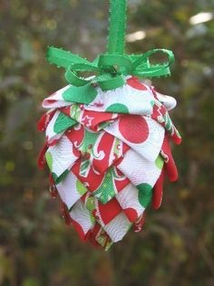 DIY Ribbon or Fabric Pinecone Ornament Instructions