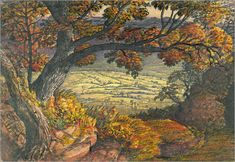 The Weald of Kent -Did this man ever stop producing paintings ,the results are endless it seems.It's using a focal point in this one , drawing your eye to the center ,the center being a collection of countryside fields and a little village...the red and orange hinted leaves suggest autumn is well under way.