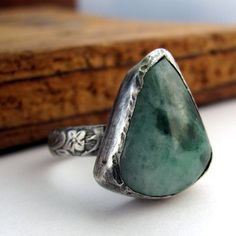 Wyoming jade sterling silver ring size 6 and a half green rustic leaf…