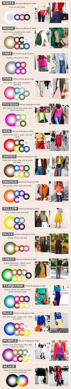 The ultimate secret science to wearing colour clothing color combinations, colour wheel combinations, combination Mode Outfits, Casual Outfits, Fashion Outfits, Womens Fashion, Fashion Tips, Dress Fashion, Office Outfits, Fashion Clothes, Fashion Hacks