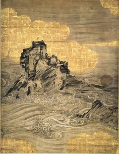 "Attributed to Hasegawa Tōgaku, ""Waves and Rocks,"" Momoyama period, early century. One of a pair of six-panel folding screens: ink and gold on paper with sections covered with gold foil. Japanese Artwork, Japanese Painting, Japanese Prints, Chinese Painting, Chinese Art, L Wallpaper, Feuille D'or, Japanese Screen, Painted Leaves"