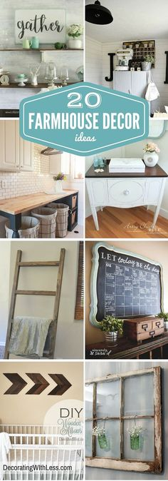 20 Farmhouse Decor Ideas - Farmhouse Decor is very popular in home decorating. This home decorating style jumped into popularity largely because of the hit HGTV show, Fixer Uppers. Joanna Gaines has successfully shown America the rustic beauty of Farmhouse Decor. - Decorating With Less