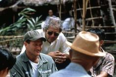 on set of Good Morning, Vietnam with Director Barry Levinson