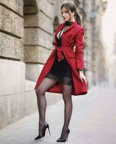 Red wool coat, black lace dress and high heels with red soles - Fashion Tights Mode Outfits, Sexy Outfits, Beautiful Legs, Gorgeous Women, Red Wool Coat, Looks Pinterest, All Jeans, Sexy Legs And Heels, Fashion Tights