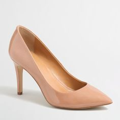 J.Crew Isabelle patent pumps ($59) ❤ liked on Polyvore featuring shoes, pumps, high heel pumps, high heel court shoes, patent leather shoes, j crew shoes and high heel shoes