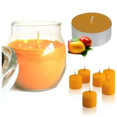 #Mango & #Papaya #ScentedCandles Collection. Glass #jarcandle  #scentedvotivecandles  #scentedtealights #homefragrance