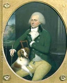 John Downman:Portrait of a Gentleman with his Dog