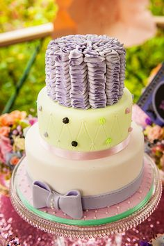 "Quirky wedding cake with a bow, cute! From French Made. Photo credit: Kat Forsyth.  For more Alternative Wedding inspiration, check out the No Ordinary Wedding article ""20 Quirky Alternatives to the Traditional Wedding""  http://www.noordinarywedding.com/inspiration/20-quirky-alternatives-traditional-wedding-part-2"