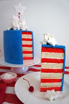 Fourth of July cake, red white and blue...tutorial