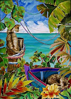 Abaco Cats Caribbean Artwork: Beach Decor, Coastal Home Decor, Nautical Decor, Tropical Island Decor & Beach Cottage Furnishings