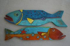 Jackie Blue the Timber Fish wooden fish painted wooden fish Folk Art Fish, Fish Wall Art, Fish Art, Fish Fish, Fish Pool, Fish Ocean, Fish Wall Decor, Beta Fish, Fish Tacos