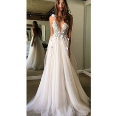 Floral Open Back Deep V-neck Straps Tulle Appliques Prom Dress Floral... (€150) ❤ liked on Polyvore featuring dresses and wedding dresses