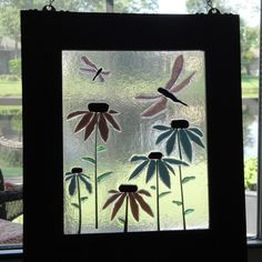 Art Coneflower Dragonfly Hanging Flower Fused Stained Glass Window Panel