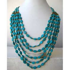 Statement Necklace Turquoise/Multi Strand by FootSoles on Etsy, $27.10