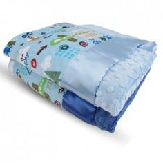 Up in the Sky Velour Blue with Minky Dot Velour Back & Flat Satin Border Blanket