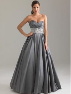 Taffeta Beaded Sweetheart Ruched Gray Evening Dresses