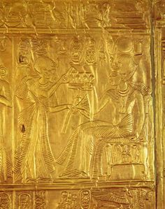 """grandegyptianmuseum: """" Golden Shrine of Tutankhamun Detail from the Golden Shrine, wood overlaid with gesso covered with sheet gold. The king seated on cushioned chair holding a vessel containing. Statues, The Boy King, Egypt Museum, The Bible Movie, Visit Egypt, Valley Of The Kings, Pyramids Of Giza, Ancient Egyptian Art, Photos Voyages"""