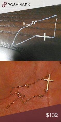 14k solid gold sideways cross bracelet New, no tags Jewelry Bracelets