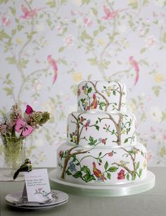 Chinoiserie Chic: Congratulations Aesthetic Oiseau - awesome chinoiserie cake image celebrating my blog's 3rd anniversary.