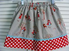 Little Red Riding Hood Skirt in Grey  12 mos 18 by wickedcutekidz, $15.00