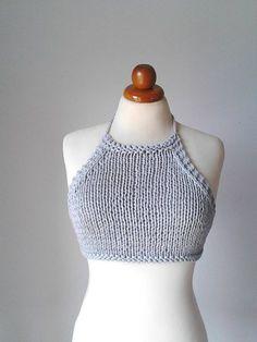 Festival top Crochet top Halter top Knit Tank Top by PlexisArt