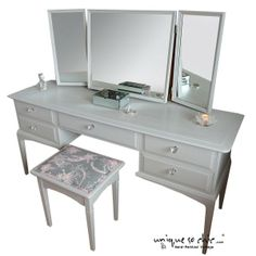 A stunning Stag Minstrel Dressing table after a gorgeous makeover and now a whole new life! Stag Furniture, Reclaimed Furniture, Upcycled Furniture, Bedroom Furniture, Dressing Table Upcycled, Dressing Table Paint, Dressing Tables, Dressing Rooms, Blue Bedroom