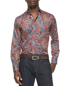 Large-Paisley-Print Sport Shirt, Orange Multi by Etro at Bergdorf Goodman.