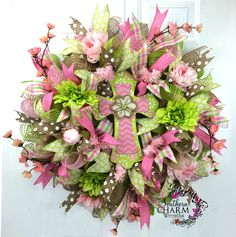 Deco Mesh Spring Wreath with cross in lime green and pink by www.SouthernCharmWreaths.com #spring #decor #door #hobbylobby