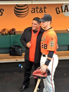 """Awesome moment. @BengieMolina1 """"catching"""" up with @BusterPosey. @SFGiants"""