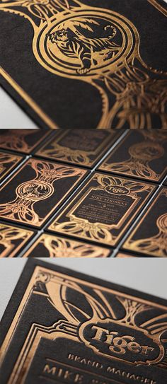 Intricate Gold Foil Illustration On A Matte Black Business Card For A Beer Company