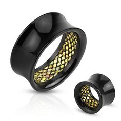 Acrylic Ear Tunnel With Scale Pattern Inlay