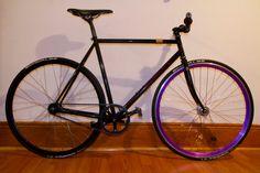 Black/Purple Saab 9 2x, Unicycle, Fixed Gear Bike, Biking, Wheels, Good Things, Purple, Black, Black People