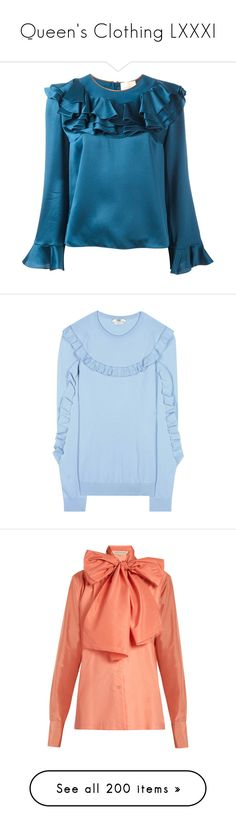 """Queen's Clothing LXXXI"" by ms-perry ❤ liked on Polyvore featuring tops, blouses, blue, ruffle blouse, frill blouse, blue blouse, flounce blouse, frill top, sweaters and fendi"