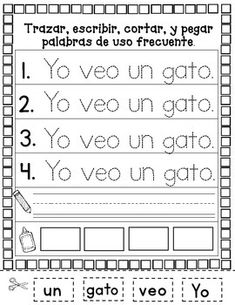 A great way to finish off the school year, practicing skills that your kiddos should already be Sight word (word Placing words in alphabetical Sight word sentences cut and Forming words with syllables cut and paste. Spanish Sentences, Sight Word Sentences, Sight Word Worksheets, Sight Word Activities, Sight Words, Bilingual Education, Preschool Education, Bilingual Centers, First Grade Activities
