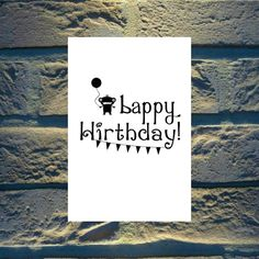 Happy Birthday Card - Printable Birthday Card Instant Download Blank Inside - Cute Monster Bappy Hirthday