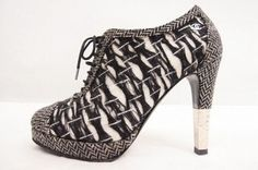 Chanel Tweed Lace Up Bootie