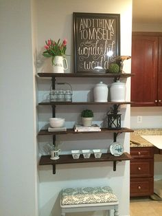 DIY Stained Open Shelving for the Kitchen | Hometalk