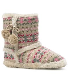 Monsoon Womens Blossom Pom-Pom Slipper Boot Size Small Camel