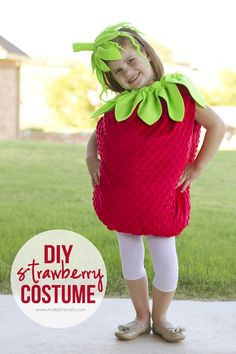 DIY Strawberry Costume...make a plush and plump strawberry costume with a coordinating leaf headband for children of all ages! | via Make It and Love It