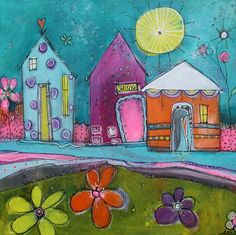 Jodi Ohl Get Whimsical with My Funky Little Cityscapes Class! Naive Art, City Art, Art Journal Pages, Whimsical Art, Art Plastique, Medium Art, Oeuvre D'art, Mixed Media Art, Home Art