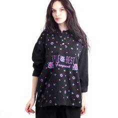Vintage 80's Black Cotton True Best Floral Oversized Sweater by Ramaci