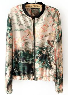 Pink Long Sleeve Ink Painting Print Jacket - Sheinside.com