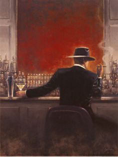 Cigar Bar Print by Brent Lynch - above the piano in our bar