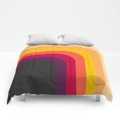 Abstract Geometric Retro Color 70s Vintage Pattern Comforters by infinitely | Society6