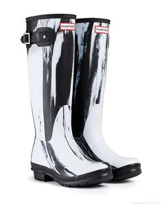 #Hunter Original Nightfall Wellington Boots – White/Black #WellingtonBoots #SS14