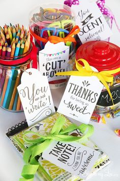 Printable Teacher Appreciation Gift Tags. Simply print and attach to your gift. Great ideas- pencils, scissors, note pad, sweets, etc. #print #teacher #gift skiptomylou.org