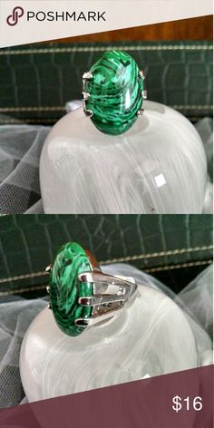 Green Malachite Statement Ring Beautiful huge Green Stone and thick heavy duty silver setting and fitted band. Sz 7 Jewelry Rings
