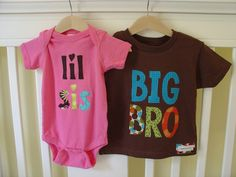 need these!  Big Brother Little Sister Matching Shirt and Onesie - Brown, Raspberry Pink. $40.00, via Etsy.