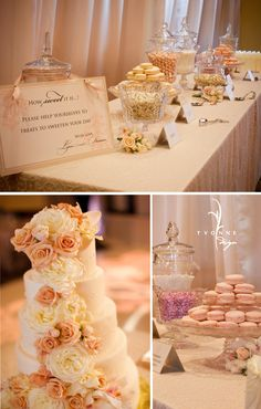 Pink and cream wedding cake and candy buffet with macarons, love this!