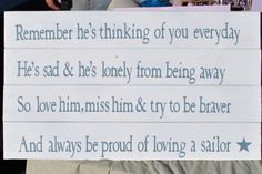 Loving A Sailor Sign. (...DIY and change to soldier or medic!)